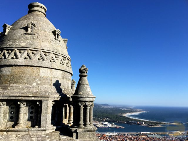 Rooftop of the Santuario de Santa Luzia, Viana do Castelo.  Overlooking the coast just walked.